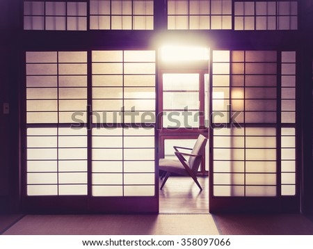 Japanese style room Interior with retro chair Vintage tone - stock photo