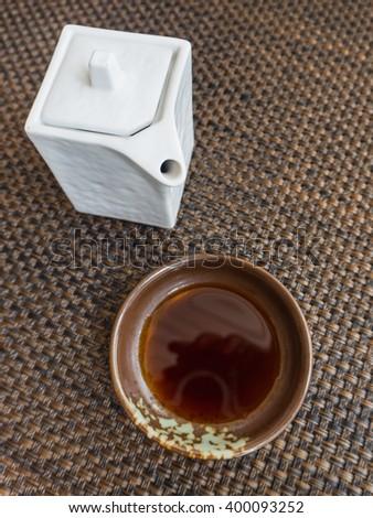 Japanese style sauce make from soy bean call Shoyu for dip sashimi or sushi - stock photo