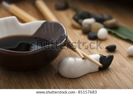 japanese style soy sauce - stock photo