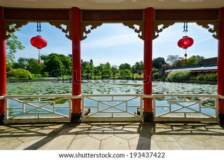 japanese style terrace garden - stock photo