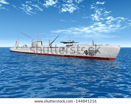 Japanese Submarine from the second World War Computer generated 3D illustration - stock photo