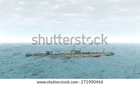 Japanese submarine of World War 2 Computer generated 3D illustration - stock photo