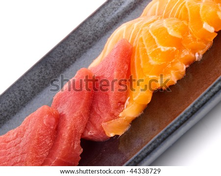 Japanese Sushi. Close up on white background