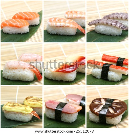 japanese sushi collage made from nine pics - stock photo