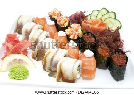 Japanese sushi seafood on a white background
