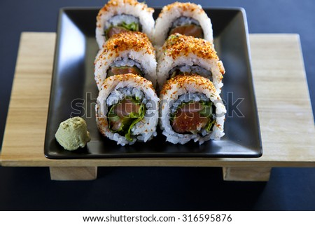 Japanese Sushi spicy tuna roll - stock photo