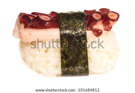 Japanese sushi with meat octopus on a white background