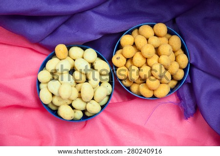 japanese sweets beans with colored sugar coat - stock photo