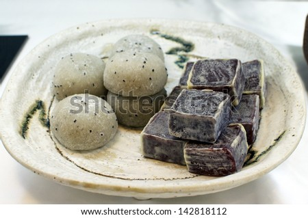 Japanese Sweets made of Mochi (glutinous rice) - stock photo