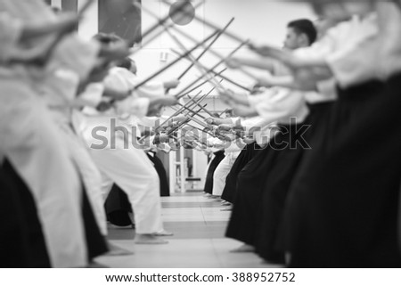 Japanese swordsmanship - stock photo