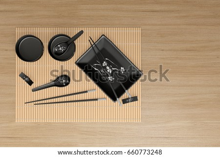 Japanese table setting with traditional mat and sushi kit. Top view. chopsticks plate & Japanese Table Setting Traditional Mat Sushi Stock Illustration ...