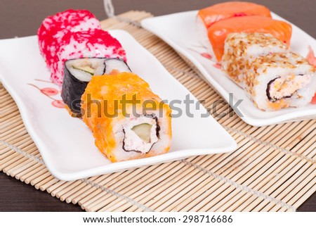 Japanese tasty sushi set, horizontal - stock photo