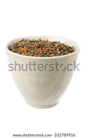Japanese Tea Leaves on White Background
