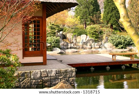 Japanese teahouse detail with pond