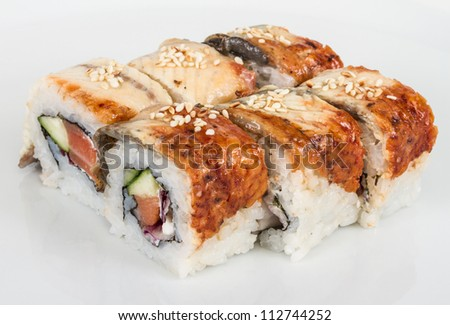 Japanese traditional Cuisine - Maki Roll with Cucumber , Cream Cheese and Raw Salmon and Eel