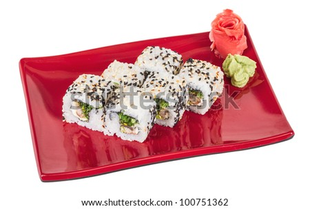 Japanese traditional Cuisine - Maki Roll with Nori , Cream Cheese and Eel. Isolated over white background