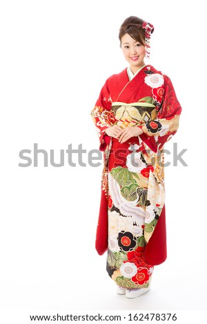 japanese traditional kimono woman on white background - stock photo