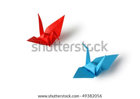 Japanese Traditional Origami, Crane Couple - stock photo