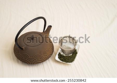 Japanese traditional Tetsubin  Cast Iron Teapot - stock photo