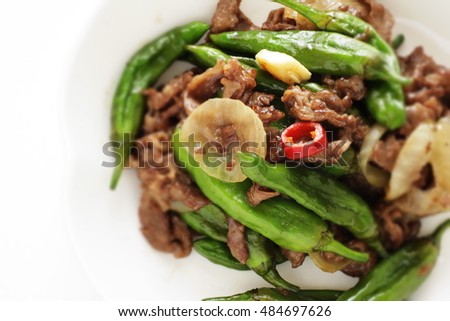 Japanese vegetable, Shishido pepper and chili pepper stir fried with garlic