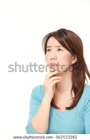 Japanese woman worries about something