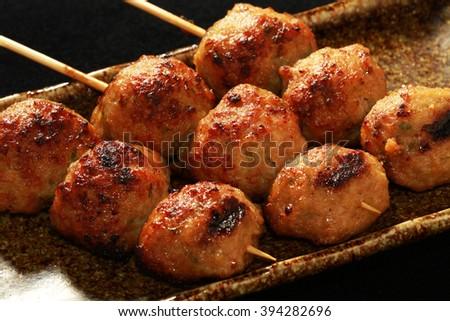 JAPANESE YAKITORI meat ball - stock photo