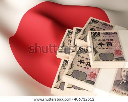 Japanese yen banknote bundles on textile textured Japan flag. 3d illustration. - stock photo
