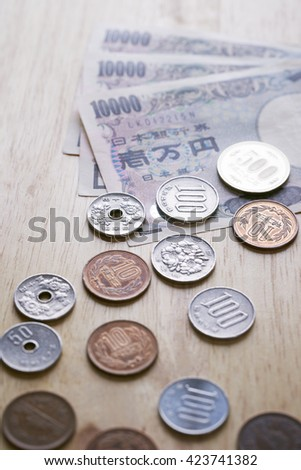 Japanese yen bills and coins - stock photo