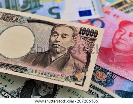japanese yen, us dollar, chinese yuan, euro money, - stock photo