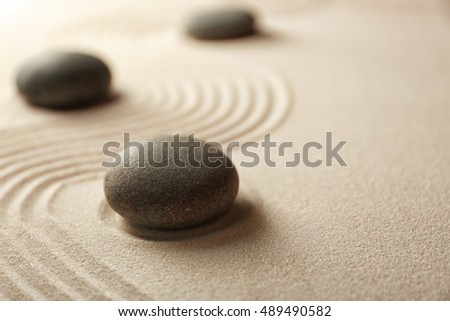 Japanese Zen garden. Pebbles on a sand