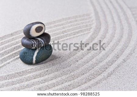 Japanese Zen Garden Stone On Raked Sand. Mini Rock Garden. Zen Concept