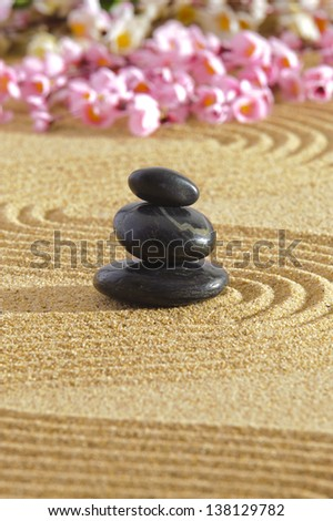 Japanese zen garden with sand and stones