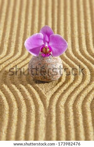 Japanese ZEN garden with stone in sand - stock photo