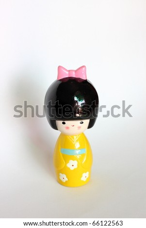 Japanses doll isolated - stock photo