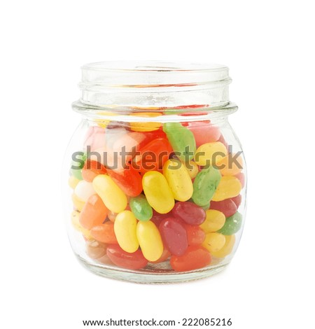 Jar full of jelly bean candy sweets, composition isolated over the white background - stock photo