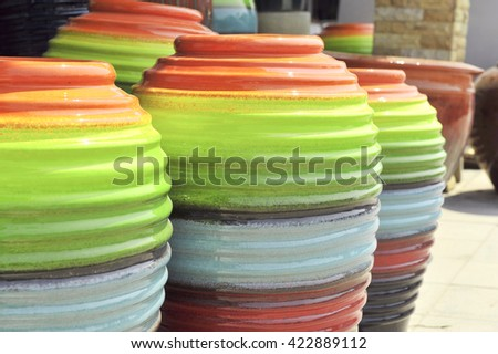 jar in many colorful - stock photo