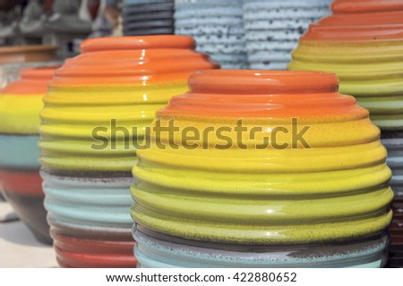 jar in many colourful - stock photo