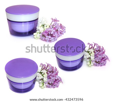 jar natural cream fresh delicate flowers, petals blooming white, purple lilac perspective Feminine, beauty, cosmetic concept