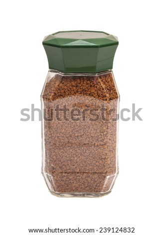 Jar of coffee isolated on white - stock photo