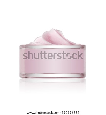 jar of cosmetic cream isolated on white  - stock photo