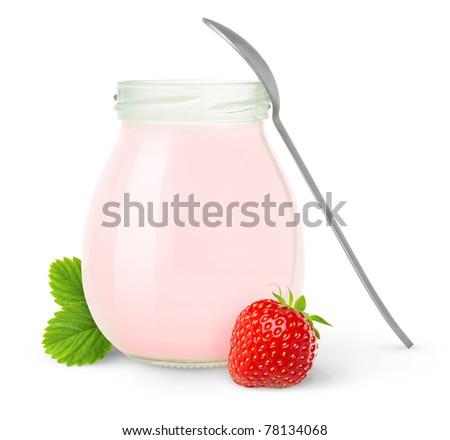 Jar of fresh strawberry yogurt isolated on white - stock photo
