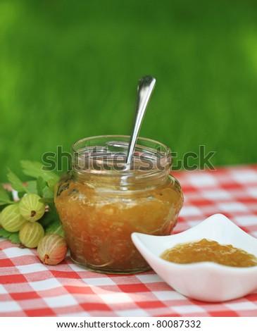Jar of  gooseberry jam on the table in the summer garden - stock photo