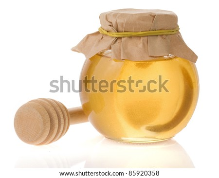jar of honey isolated on white background - stock photo