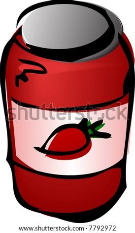 Jar of jam, illustratin 3d isometric style  lineart sketch hand-drawn - stock photo