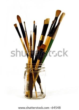 Jar of Paint Brushes - stock photo