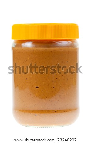 Jar of peanut butter isolated on a white background - stock photo