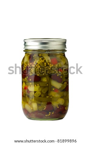 Jar of preserved bean salad isolated