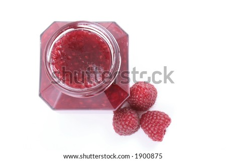 jar of raspberry jam and some fresh berry isolated on white - stock photo