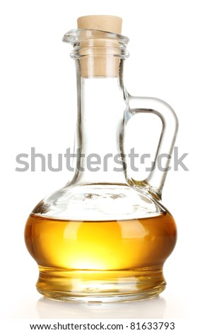 jar with  oil isolated on white - stock photo