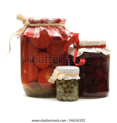 Jar with preserves. Homemade strawberry jam, pickled tomatoes and capers isolated on white. Series - stock photo